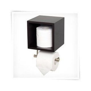 Satin Nickel Wall Mount Toilet Paper Holder Cube   Espresso   Toilet Paper Storage Containers