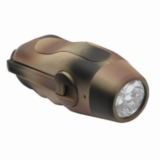 Hand Crank Self Powered Army Green Dynamo 5 LED Flashlight Sports & Outdoors