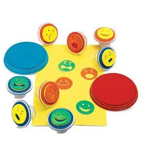 Smiley Face Expression Stamps with 2 Color Stamp Pads, Set of 8 Toys & Games