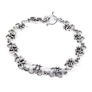 Elaborate Aum or Ohm Symbol Link .925 Silver Bracelet (Thailand) Bracelets