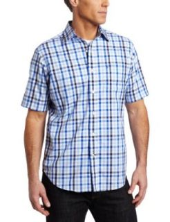 Nautica Men's Bold Plaid Shirt, French Blue, Small at  Men�s Clothing store