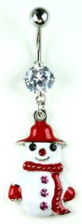 Rhinestone Studded Stainless Steel Bananabell Belly Ring (316L Surgical Steel) Christmas Snowman Charm Bananabell (14g) Painted Holiday Snowman Dangle Charm Navel Ring Body Piercing (1pc) Toys & Games
