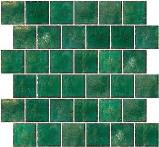 Susan Jablon Mosaics   2x2 Inch Teal Green Iridescent Glass Tile Reset In Offset Layout