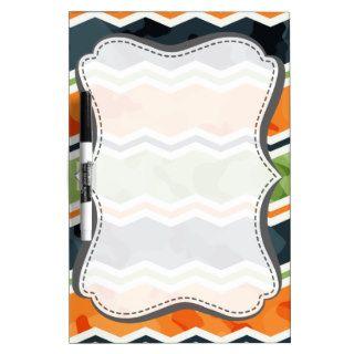 Green and Orange Camo Chevron Stripes Dry Erase Boards