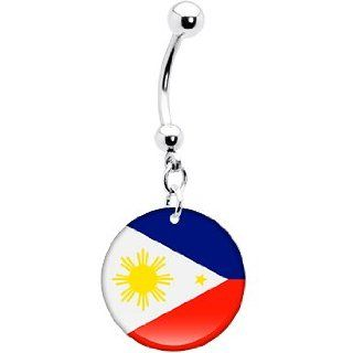 Philippines Flag Belly Ring: Body Piercing Rings: Jewelry