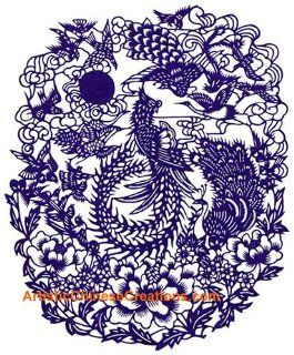 Chinese Products / Chinese Folk Art / Chinese Paper Cuts   Phoenix, Cranes & Magpies   Home Decor Products