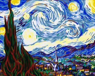 """Dart & Art Paintworks Paint By Numbers for Adults and Kids, Make Your Own """"the Starry Night by Van Gogh"""" with this DIY Painting by Numbers Kits, Dimensions 20""""x16"""", Package with 3 Painting Brushes"""