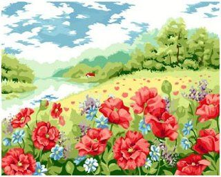 Poppy garden acrylic (2013 New DIY paint by number 16*20'' kit)