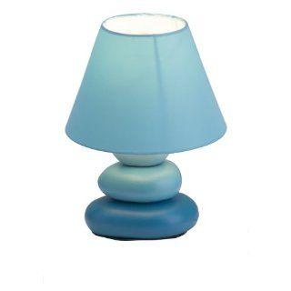 Brilliant Paolo Tischleuchte in Steinoptik, Keramik/Textil, H: 23 cm, D: 17 cm, blau 92907/03: Beleuchtung