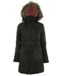 khaki S 10 Chica Frauen Quilted Military Parka Furs Pelzkragen Kapuze Damen Jacke Mantel: Bekleidung