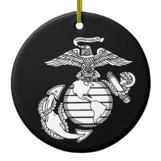 USMC Eagle, Globe and Anchor with Black Background Christmas Tree Ornament