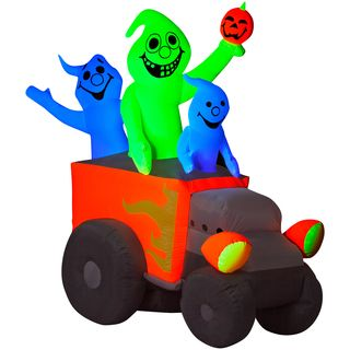 Halloween Airblown Inflatable Neon Hot Rod Ghosts Seasonal Decor