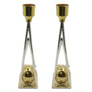 Jewish USED Solid Brass Gold & Silver Plated Shabbat Candle Holders Contemporary Triangle Shape Design Made in Israel . Great Gift For Rosh Hashanah Sabbath Purim Sokot Simchat Torah Hanukkah Passover Lag Baomer Shavuot Rabbi Bridesmaid Temple Shul Ch