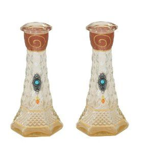 "Shabbat Sabbat Candle Holders / Sticks Textured Decoupage Glass With Hamsa & Turquoise Stones 6.0"" Modern Design Hand Made In ISRAEL By Lily Art. Great Gift For: Rosh Hashanah Sabbath Purim Sokot Simchat Torah Hanukkah Passover Lag Baomer Shavuot"