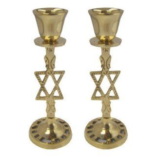 "Shabbat Sabbat Candle Holders / Sticks Solid Brass 5.50"" Tall Classic Design With A Star Of David . Great Gift For Rosh Hashanah Sabbath Purim Sokot Simchat Torah Hanukkah Passover Lag Baomer Shavuot Rabbi Bridesmaid Temple Shul Chupah Wedding Housew"