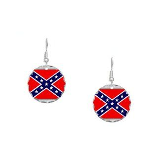 Earring Circle Charm Rebel Confederate Flag HD: Artsmith Inc: Jewelry