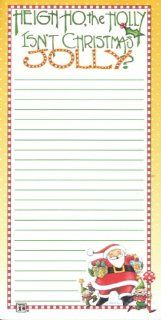 "Mary Engelbreit Christmas Magnetic Refrigerator Grocery Lister To Do List Note Pad Santa Claus and Elves ""Heigh Ho the Holly ~ Isn't Christmas Jolly?"" : Memo Paper Pads : Office Products"