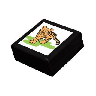 Cartoon Clip Art Bengal Tiger Big Cat with Stripes Jewelry Boxes