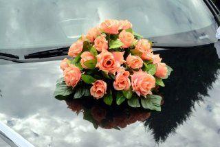 Autoschmuck Rattan Feder Autodeko Hochzeit Dekor Verschiedene Variante Komplett (Rot, Blumenstrau�   orange): Küche & Haushalt