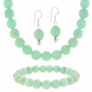 "Sterling Silver 8mm Genuine ite Bead Dangle Earrings Stretch Bracelet Necklace 15 19"" Jewelry Set: Jewelry"