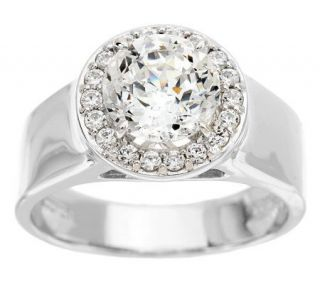 Epiphany Diamonique 100 Facet Wide Band Halo Ring —