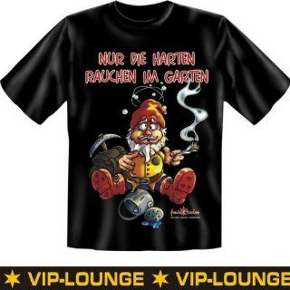 Spr�che Fun Tshirt Nur die Harten rauchen im Garten in schwarz mit GRATIS Absperrband :): Sport & Freizeit