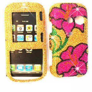 ACCESSORY BLING STONES COVER CASE FOR LG RUMOR2 / COSMOS LX 265 PINK FLOWERS GOLD: Cell Phones & Accessories