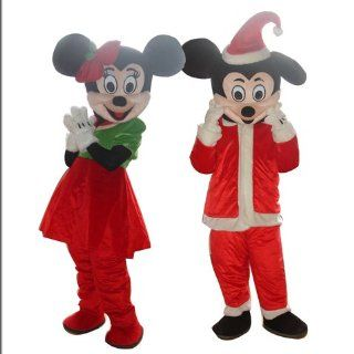 NEW Christmas MICKEY MINNIE MOUSE ADULT SIZE MASCOT CARTOON COSTUME SUIT: Toys & Games