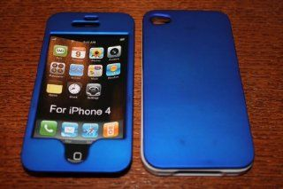 Hard Snap on Cell Phone Case Apple iPhone 4 & 4s Rubberized BLUE Front & Back W/ WHITE Border {34}: Cell Phones & Accessories