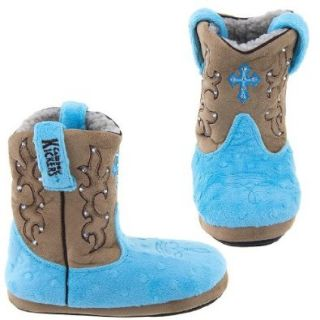 Cowboy Kickers Blue Cross Slippers for Girls: Cowboy Boot Slippers For Women: Shoes