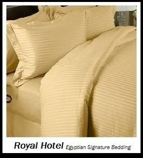 Royal Hotel's King size Striped Gold 300 Thread Count 3pc Duvet Cover Sets and 1pc Siberian Goose Down Alternative Comforter 100 percent Egyptian Cotton 100% Cotton