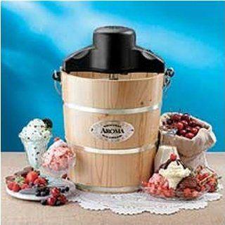 Aroma AIC304EM 4 Quart Electric or Hand Crank Ice Cream Maker Machine, AIC 304EM Kitchen & Dining