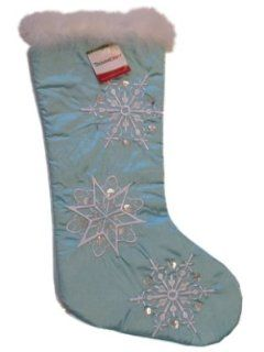 Trimmery Light Blue Satin Christmas Stocking with Beaded Snowflakes and Plush White Feather Trim   Christmas Decor