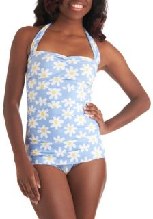 Bathing Beauty One Piece in Daisy  Mod Retro Vintage Bathing Suits