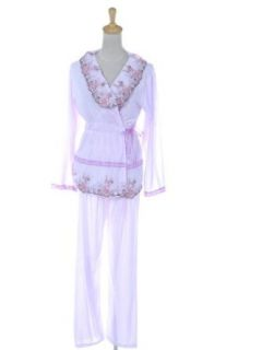 Anna Kaci S/M Fit Sheer Pink Floral Trimmed Fold Over Two Piece Pajama Pants Set Lingerie Sets