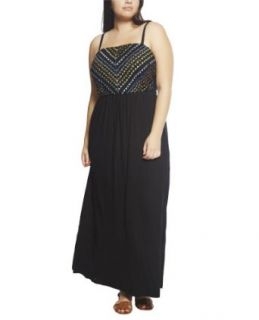 Wet Seal Women's Embellished Bust Knit Maxi Dress 3X Black at  Women�s Clothing store: