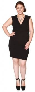 Libian Jr Plus Size Scuba V neck Cleavage Dress with Bib Necklace at  Women�s Clothing store