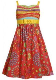 Size 18.5, Orange, BNJ 2523M, Orange Multi Stripes to Foil Floral Print Dress,Bonnie Jean Girl Plus Size Special Occasion Party Dress Clothing