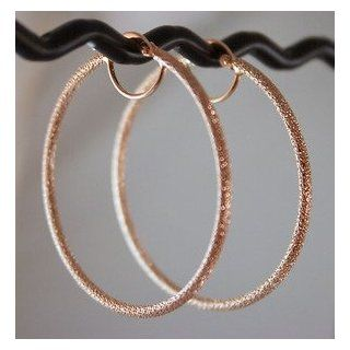 "Solid 14K Pink Rose Gold Hoop Earrings 2"" Italian Beauty 3.11g Sparkling MESH 50mmx2mm: Jewelry"