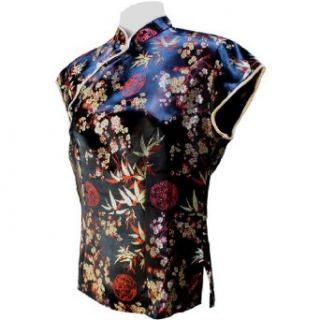 Sirisha Asian Style Silk Blouse, Mandarin Collar, Bamboo Pattern, Black/Red/Gold (XXL)