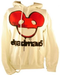 Deadmau5 Mens Hoodie   Red Dead Mouse Logo on White (deadmaus) (X Small) Clothing
