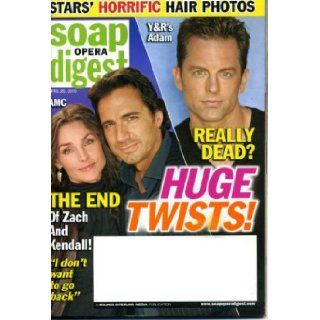 Soap Opera Digest April 20 2010 All My Children   End of Zach & Kendall, The Young and the Restless   Adam Really Dead? Salute to Ugly Betty, Jack and Victor Feud, David Canary, Rick Hearst/Bold and Beautiful Interview, Writers' Plans for Pine Vall