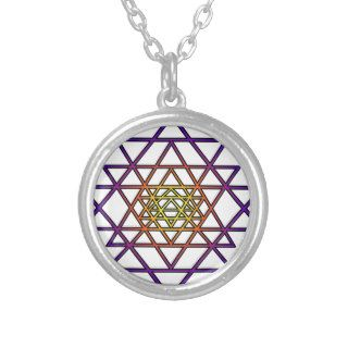 Triangle Mandala (yellow purple) Sri Yantra Pendants