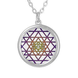 Triangle Mandala (yellow purple) Sri Yantra Pendants