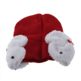 YKS Baby Toddler Kids Boys Girl Winter Ear protection Flap Warm keeping Hat Beanie soft Cap Crochet bunny small dual Rabbit shape decor wool earmuffs Beanie for children (red): Clothing