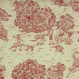 54'' Wide Harvest Toile Red/Natural Fabric By The Yard Arts, Crafts & Sewing