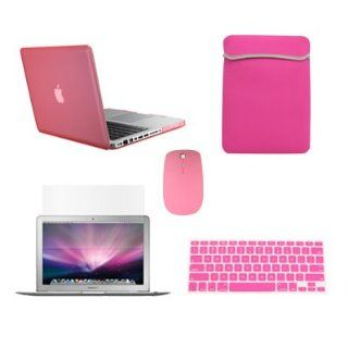 "TopCase New Macbook Pro 13"" 13 inch with Retina Display Model A1425 and A1502 (NEWEST VERSION 2013) 5 in 1 Bundle   Pink Rubberized Hard Case Cover + Matching Color Soft Sleeve Bag + Wireless Mouse + Silicone Keyboard Cover + LCD HD Clear Screen Prot"