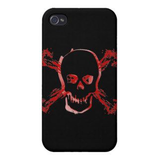 Blood Smeared Skull & Bloody Cross Bones iPhone 4 Case