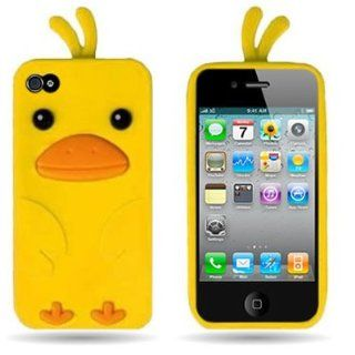 Wireless Central WCC396 Soft Silicone Skin Cover Case With Funky Duck Shape Design for 4 4S Apple Iphone   Yellow: Cell Phones & Accessories