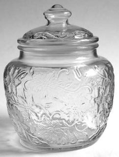 Princess House Crystal Fantasia Small Canister & Lid   Clear,Pressed Dinnerware,